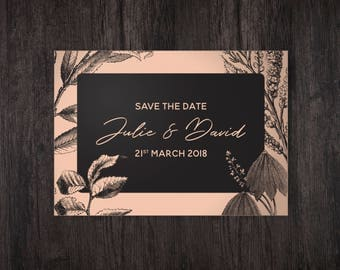 Peach Wedding, Save The Date Cards, Copper Wedding Stationery, Rustic Wood Card, Save The Date Postcard, Personalised Wedding Stationery