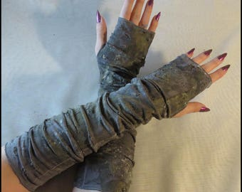 APOCALYPTIC GLOVES dark GRAY Long Fingerless Gloves dark Gray Fingerless Apocalyptic Gloves hand distressed by WastelandWearable