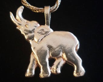 """CP046: 2.9g Vintage Solid Silver Elephant Sterling Pendant w/39g Solid Silver Foxtail Rope Chain with Dark Patina 18"""" Sterling Necklace"""