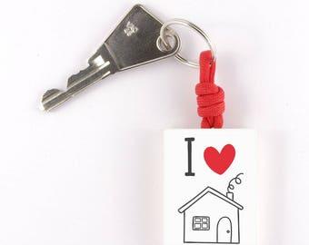 """Keychain """"I love my home"""""""
