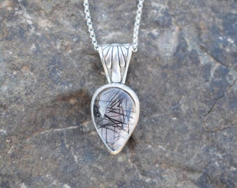 For Her - Rutile Quartz Teardrop Necklace - Sterling Silver Jewelry