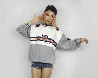 Vintage sweatshirt  / Oldschool sweatshirt / Mitre pullover / Gray grey sweatshirt / Long Sleeves Top / 90s sweatshirt /