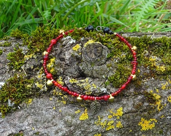 Red glass beads anklet with golden bells and a leaf pendant ~ handmade OOAK summer jewelry