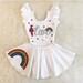 SKIRT only - RAINBOW White Ruffle Skirt w/ glitter design (leotard sold separately) - Trolls / Poppy / costume / flowers