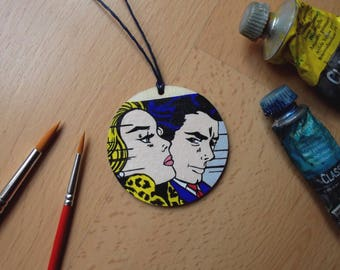 Hand-painted pendant. Wooden pendant. Roy Lichtenstein. Pop Art. Gift idea. Birthday Gift. Mother's Day gift idea