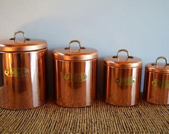 Vintage Copper Canister Set, Kitchen Canister Set, Bristol Ware Set of 4 Flour, Sugar, Coffee, Tea Canisters made in the USA