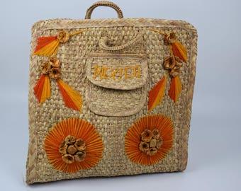 Vintage Retro Beach Bag that says Mexico, Straw Beach Bag, Mexican Beach Bag, Straw Market Bag, or Straw Tote