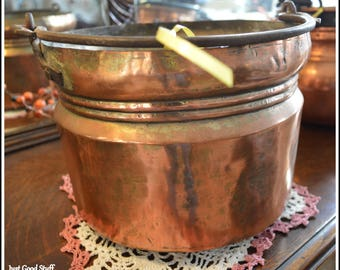 Antique Copper Pot with a Handle ~  Primitive looks and Feel ~