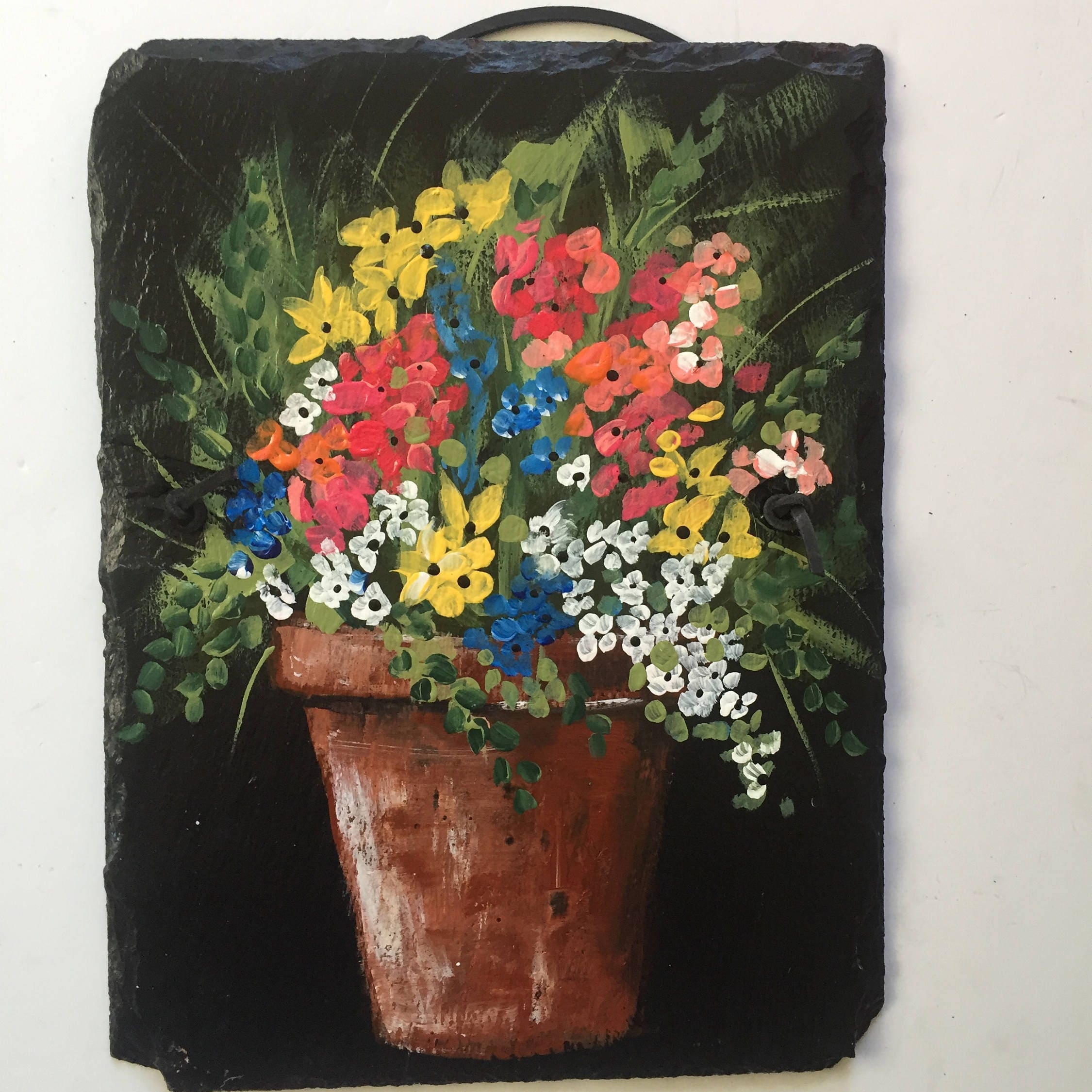 spring flower pot slate painting, 9 x 12 painted slate, yard art