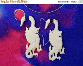 on sale Tribal Dragons Fake Gauges Earrings - Recycled Bone - Free Shipping