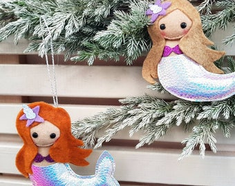 Mermaid, hanging Christmas Decoration * MADE TO ORDER *