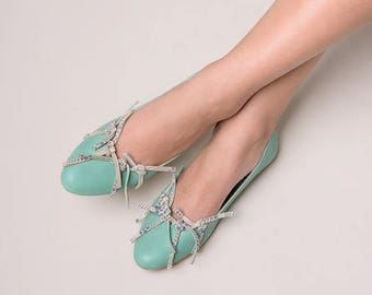 FREE SHIPPING, Green shoes, Green leather shoes, Leather flats, Flat shoes, Ballet flats, Leather ballerina shoes, Ballerinas, Leather shoes