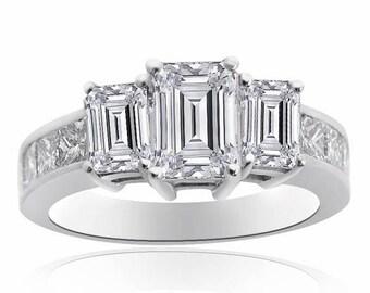 ON SALE 4.11 Carat Diamond Three Stone Engagement Ring 14K White Gold