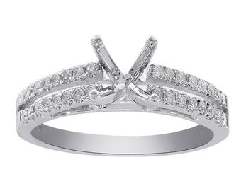 0.30 Carat Diamond Split Shank Engagement Mounting 14K White Gold