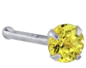 Canary Yellow Diamond 14K White Gold Nose Rings Bone (20G - 16G)