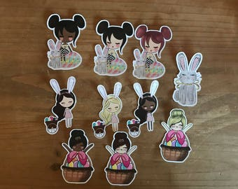 Easter girl die cuts and stickers. Available in brunette, blonde or African American. travelers notebook, planner