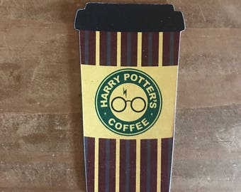 Harry Potter coffee die cut. Plaid coffee cup. Planner decorations, supplies, accessories. Travelers notebook.