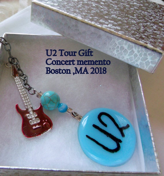 Band Key chain - U2 concert tour gift - Boston - Innocence - red musical instrument -  aqua glass pendant - fused glass - brown guitar charm