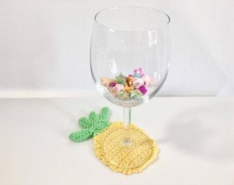 pineapple coaster - handmade crochet - cup coaster