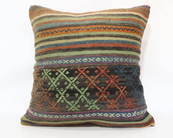 Decorative Kilim Pillow Sofa Pillow Ethnic Pillow 24x24 Striped Embroidered Kilim Pillow Floor Pillow Home Decor Cushion Cover  SP6060-1388