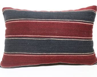 Burgundy And Navy Blue Striped Kilim Pillow 16x24 Handwoven Turkish Kilim Pillow Ethnic Pillow Fllor Pillow Cushion Cover SP4060-944