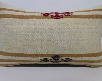 Striped Kilim Pillow Sofa Pillow 12x24 Decorative Kilim Pillow Handwoven Kilim Pillow Turkish Kilim Pillow Cushion Cover SP3050-1640
