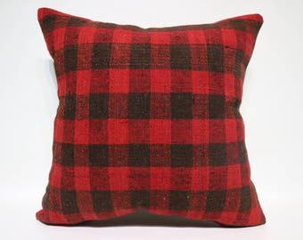 24x24 Anatolian Kilim Pillow Floor Pillow 24x24 Large Red And Black Kilim Pillow Ethnic Pillow Home Decor Boho Pillow SP6060-1463