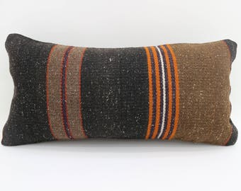 kilim pillow striped pillow faded pillow handmade 10x20 turkish pillow lumbar cushion cover vintage kilim pillows throw pillows  SP2550-1623