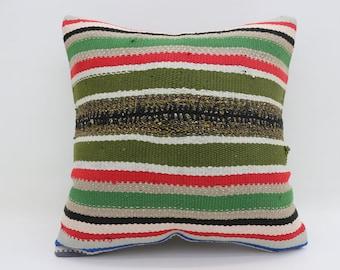 "20""x20"" Large Turkish Kilim Pillow Multicolor Kilim Pillow Bed Pillow Striped Pillow Throw Pillow Bohemian Cushion Cover Pillow  SP5050-2685"