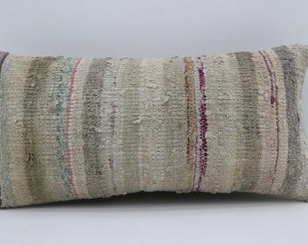 12x24 Kilim Pillow Cover White Striped Pillow Turkish Kilim Pillow Sofa Pillow 12x24 Gray Pillow Multicolor Pillow Purple Pillow SP3060-1670