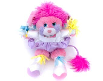 Vintage Popples Cheerleader Pink Party Plush Shiny Pom Poms 1986 Sports Stuffed Animal Plushie 80s Retro Mattel Original Kawaii Fairy Kei