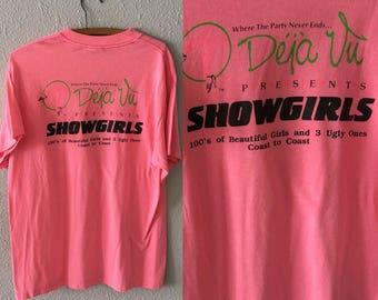 Vintage Showgirls Strip Club 1980's 1990's Hot Pink Stripper T Shirt