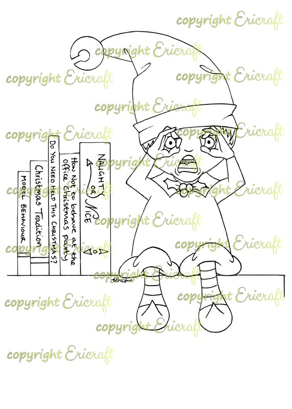 Digital Stamp - Shocked elf - 300dpi jpeg file by Erica Bruton
