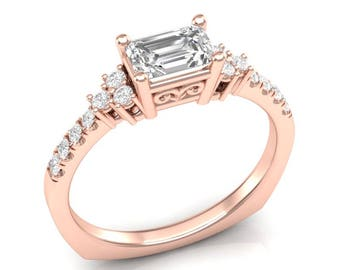 14k Emerald Cut East West Engagement Ring Rose Gold Ring Forever One Colorless Halo Ring for Her Moissanite Forever One Three-Stone Ring