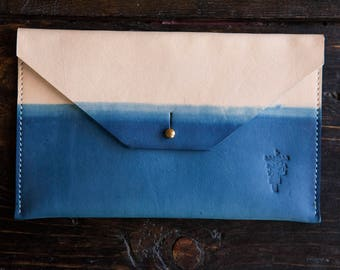 "Indigo Dipped Leather Clutch with Solid Brass Stud & Keyhole Closure - Envelope Style 8.5"" x 5"""