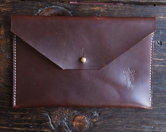 "OxBlood Pullup Leather Clutch with Solid Brass Stud & Keyhole Closure - Envelope Style 7.25"" x 5.75"""