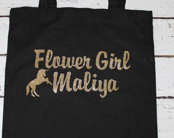 Personalized flower girl 100% cotton tote with applique