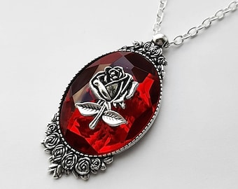 Gothic Bloody Rose Thorn Jewel Necklace