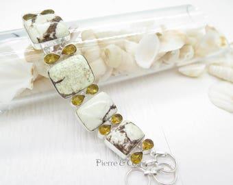 Lemon Chrysoprase and Citrine Sterling Silver Bracelet