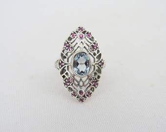 Vintage Sterling Silver Natural Aquamarine & Ruby Ring Size 6