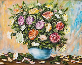 Original floral oil painting 'Garden Roses bouquet', canvas 60x80cm, original artwork