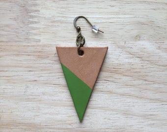 Green jewelry, single earring, leather earrings