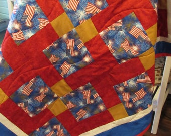 American Flag with Fireworks Throw Quilt