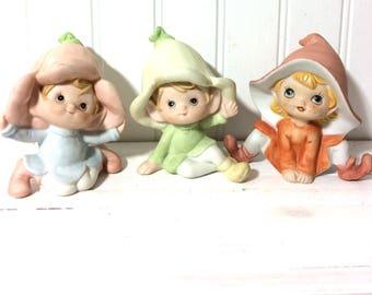3 Vintage Ceramic Pixie Elves