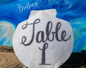 Handwritten Natural Scallop Shell Table Numbers, Beach Wedding Table Decor & Signs, Beach Table Number Alternatives, Nautical Shell Decor
