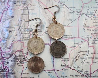 Argentina coin earrings - 2 different designs - made of original coins - sun - travelgift - Fernweh