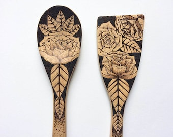 Personalized pyrography tribal rose utensils, wooden freehand pyrography rose  spoon and spatula set, boho customized kitchen decor