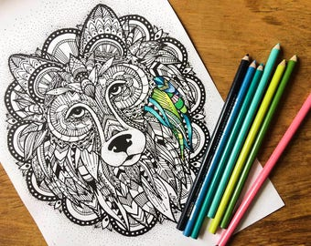 Adult colouring page, wolf pattern coloring page instant digital download, advanced adult colouring page animal art digital colouring page