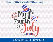 First Fourth of July Svg File / Patriotic Svg / Home of the Free / 4th of July SVG Cut File / United States Svg / American Svg