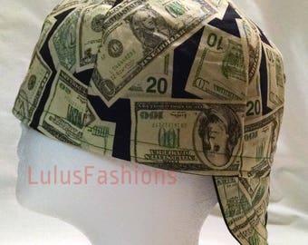 Money Pattern, Inside Black, Welding Cap, Reversible Cap, Biker Cap, Skull Cap, Hardhat Liner, Welders Cap, Custom Cap, Cycling Cap, Hat